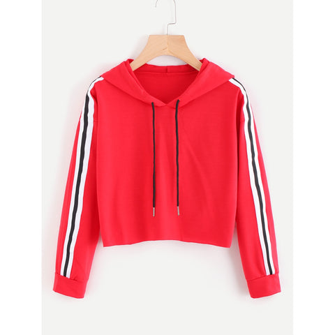 Contrast Striped Drawstring Hoodie - Fashiontage