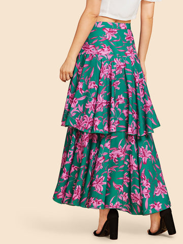 Formal Dresses - Women's Trendy Multicolor Tiered Layer Floral Print Dress