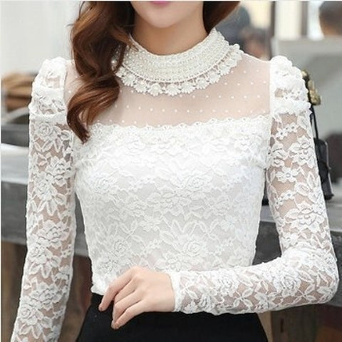 Plus Size Tops - Women's Trendy Plus Size Womens Stand Pearl Collar Lace Crochet Blouses Shirts Long Sleeve Tops For