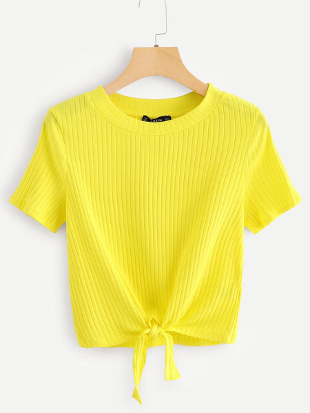 Yellow Knot Front Solid Ribbed T-Shirt