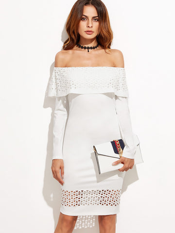 White Laser Cut Flounce Bardot Dress