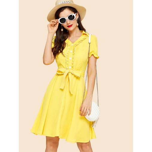 Yellow Frilled Half Placket Belted Dress