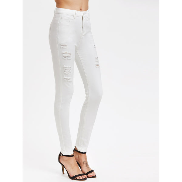 White Skinny Mid Waist Jeans