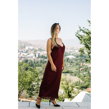 Burgundy Graphic Tee Dress - Fashiontage