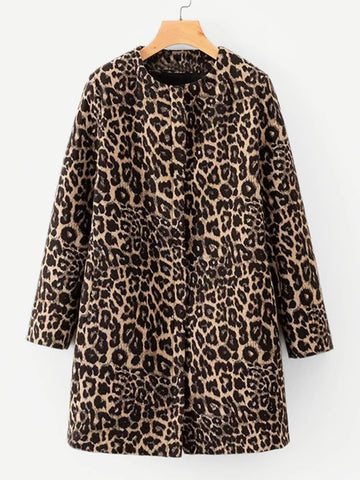 Multicolor Leopard Print Coat