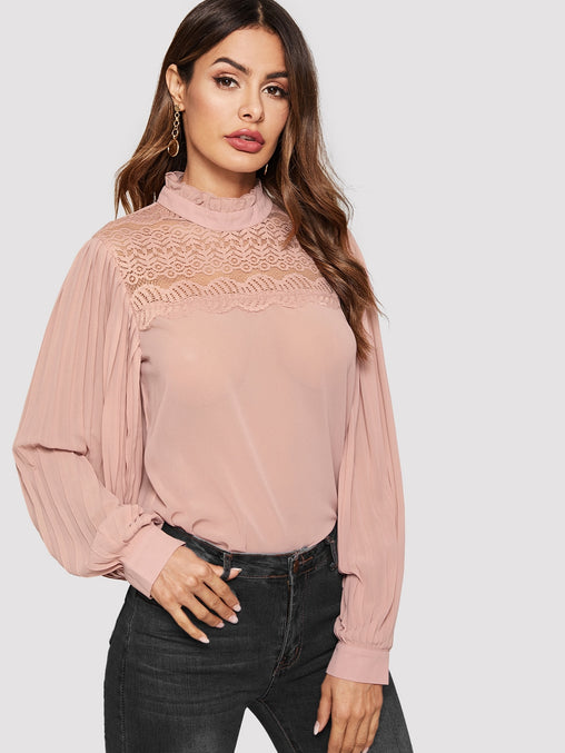 Pink Contrast Lace Keyhole Back Blouse