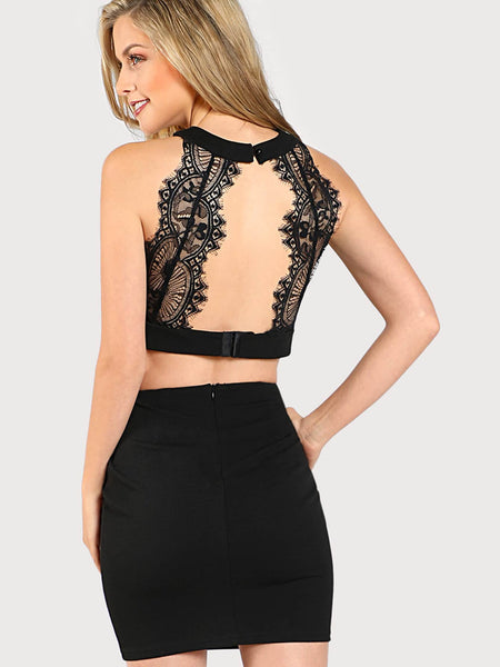 Black Eyelash Lace Open Back Crop Top And Bodycon Skirt Set