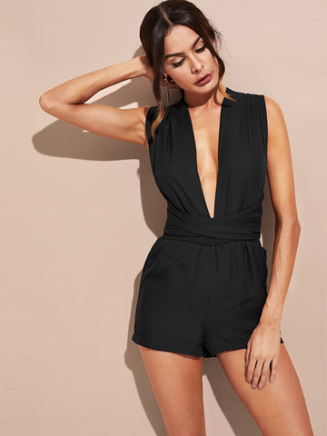 Jumpsuits - Women's Trendy Black Plunging Wrap Romper