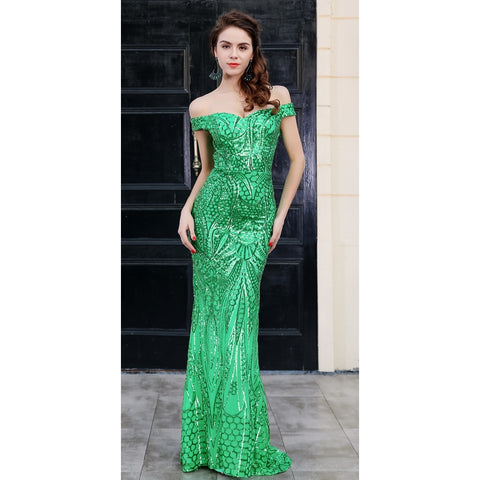 Day Dresses - Women's Trendy Green Sequin Cocktail Dress