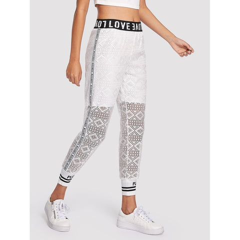 Sweatpants - Women's Trendy White Letter Print Eyelet Lace Sweatpants