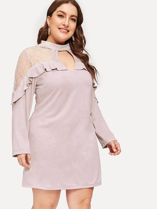 Plus Size Pink Lace Contrast Ruffle Short Dress