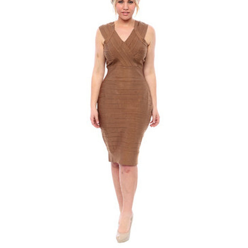Plus Size Nude V-Neck Sleeveless Dress