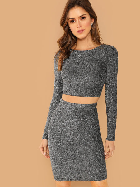 Silver Glitter Bodycon Top and Skirt Set