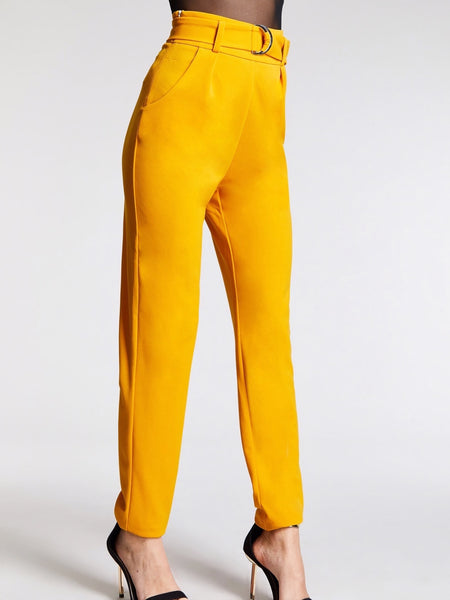 Yellow Slant Pocket Solid Straight Leg Pants