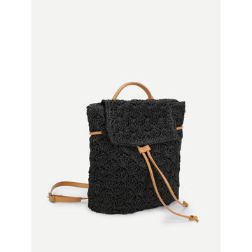 Black Drawstring Flap Woven Backpack