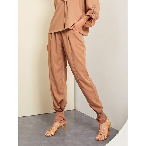 Tapered Pants - Women's Trendy Khaki Adjustable Belted Hem Solid Pants