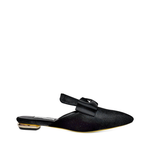 Black Slip On Velvet Slippers