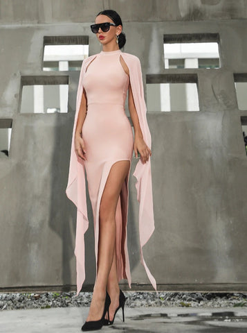Pink Slit Bodycon Dress
