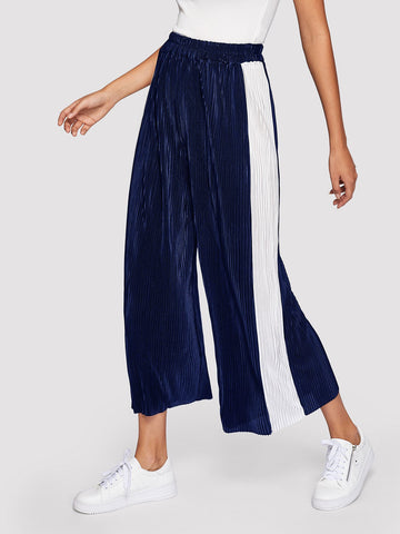 Wide Leg Pants - Women's Trendy Navy Contrast Panel Side Wide Leg Pants