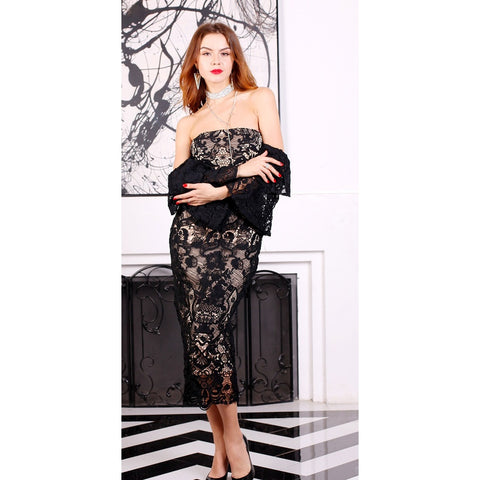 Bridal Dresses - Women's Trendy Black Off Shoulder Lace Dress