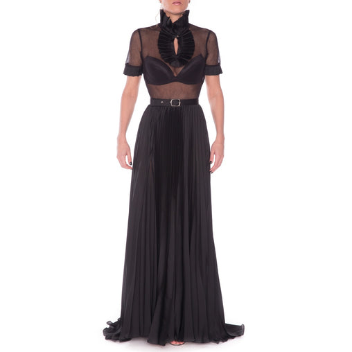 Black Elegant Gown lace and Silk Evening Dress