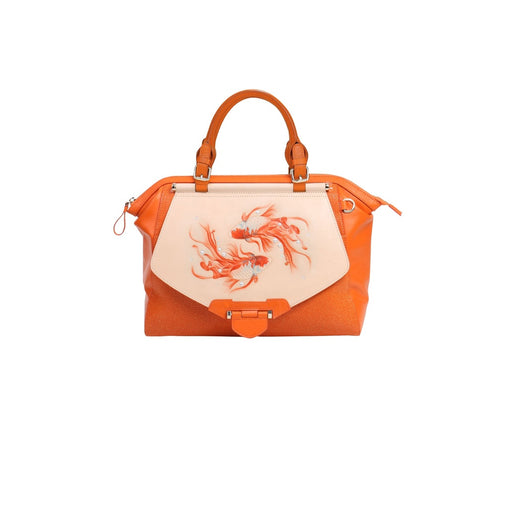 Orange Boa Leather Mini Handbag