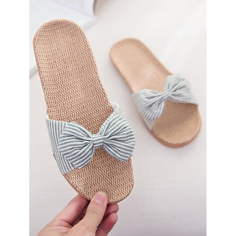 Blue Striped Bow Flat Sliders