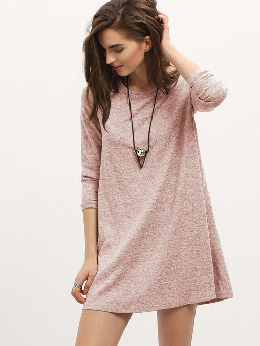 Pink Long Sleeve Casual Short Dress