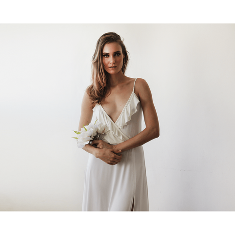 Bridal Maxi Wrap Dress With Ruffle And Straps