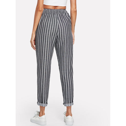 Tapered Pants - Women's Trendy Grey Drawstring Waist Pinstriped Tapered Pants