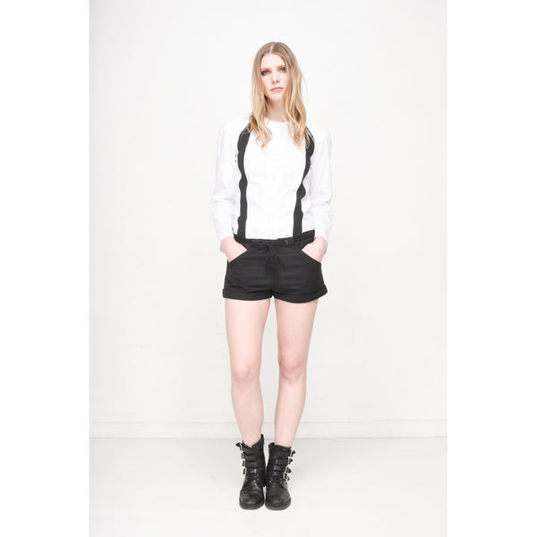 Shorts - Women's Trendy Black Wool Rope Shorts