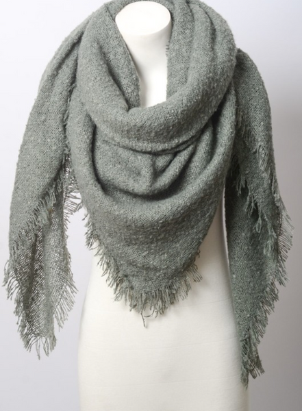 Warm Open Weave Sage Blanket Scarf