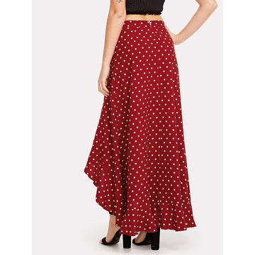 Asymmetrical Ruffle Trim Polka Dot Skirt - Fashiontage