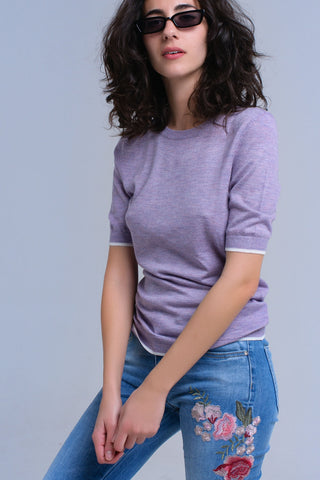 Purple Crew Neck Short Sleeve Sweater