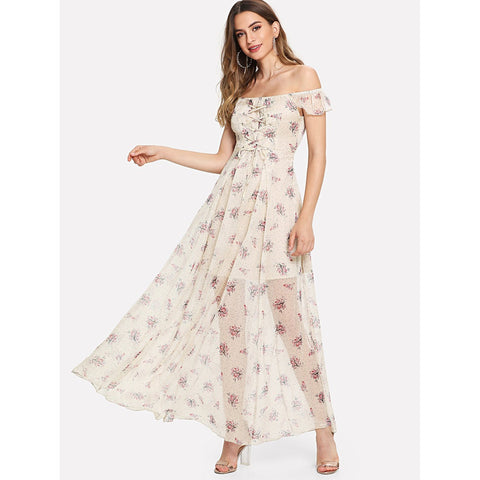 Day Dresses - Women's Trendy Apricot Off Shoulder Ruffle Maxi Dress