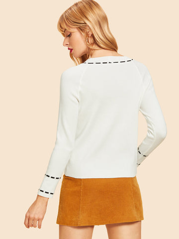 White Raglan Sleeve Tied Neck Sweater