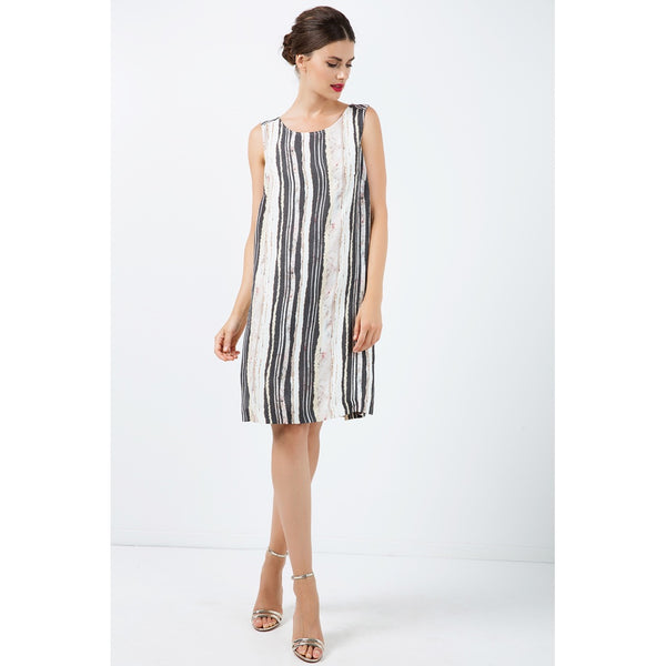 Day Dresses - Women's Trendy Black And White Round Neck Sleeveless Summer Dress