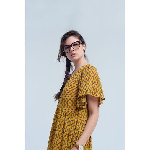 Yellow V-Neck Short Sleeve Dress