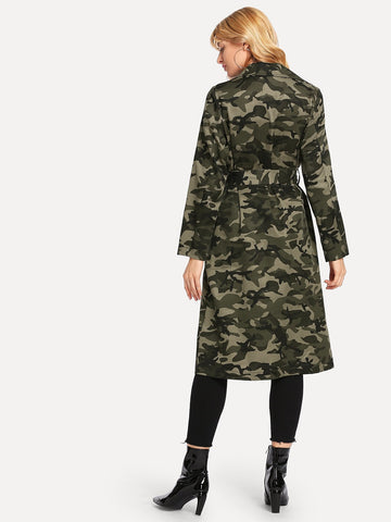 Multicolor Belted Camo Long Coat