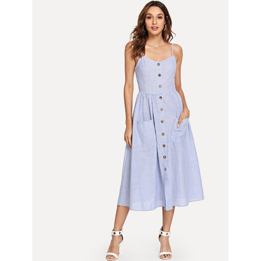 Blue Button Up Pocket Front Pinstriped Cami Dress
