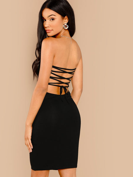 Black Sleeveless Knee Length Party Dress