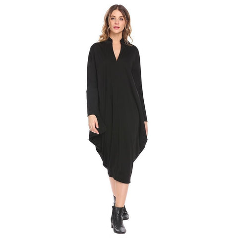 Cocktail & Party Dresses - Women's Trendy Black V-Neck Long Sleeve Party Dress