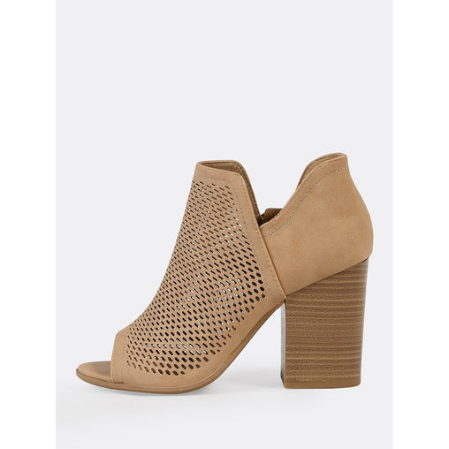 Brown Open Toe Perforated Double V Side Slit Boots
