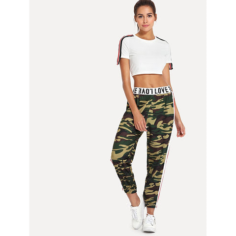 Sweatpants - Women's Trendy Army Green Mid Waist Striped Sweatpant