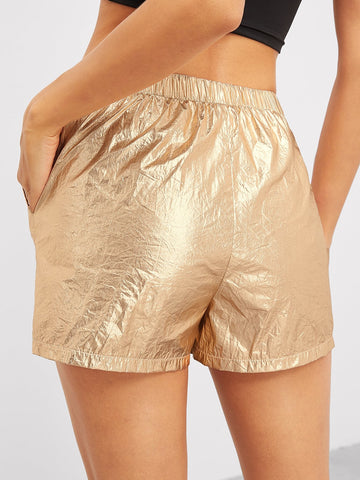 Jean Shorts - Women's Trendy Gold Drawstring Waist Shorts