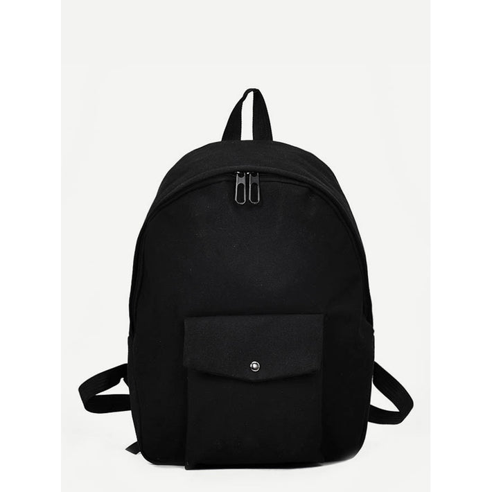 Black Pocket Front Canvas Backpack