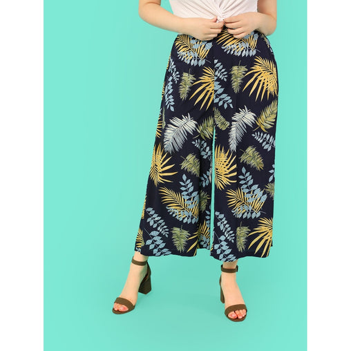 Plus Size Navy Tropical Print Palazzo Leg Pants