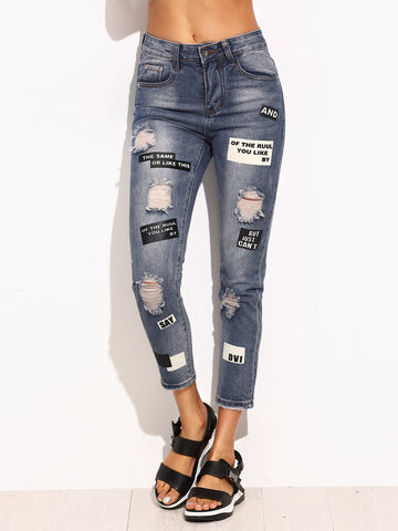 Blue Ripped Letter Print Skinny Jeans