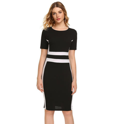 Cocktail & Party Dresses - Women's Trendy Black Collar Short Sleeve Party Dress