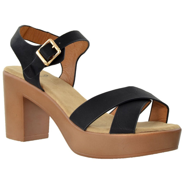 Sandals - Women's Trendy Taupe Chunky Heel